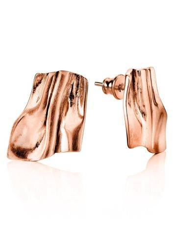 Stylish Modern Rose Gold Plated Silver Earrings The Liquid, image