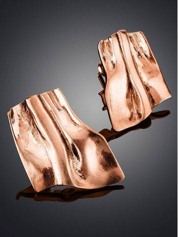 Stylish Modern Rose Gold Plated Silver Earrings The Liquid, image , picture 2