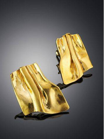 Designed Modern Gold Plated Silver Earrings The Liquid, image