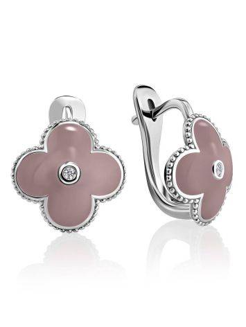 Silver Earrings With Diamonds And Enamel The Heritage, image