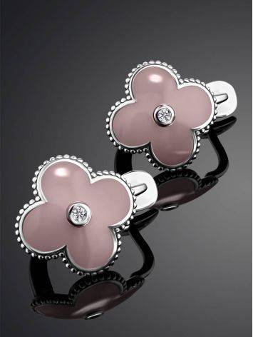Silver Earrings With Diamonds And Enamel The Heritage, image , picture 2