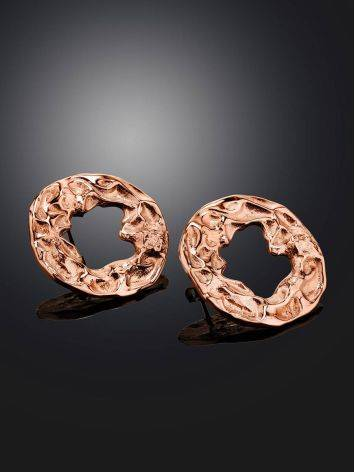 Textured Rose Gold Plated Silver Round Earrings The Liquid, image , picture 2
