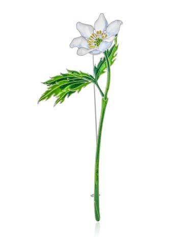 White Anemone Flower Enamel Brooch, image