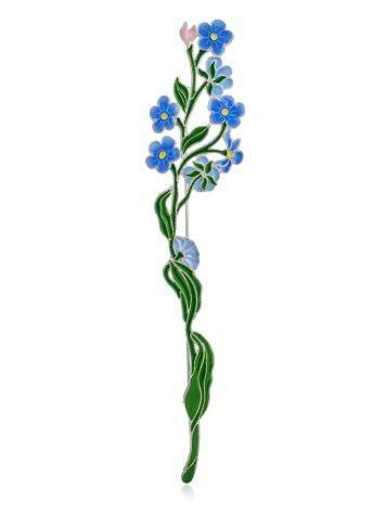 Cute Forget-Me-Not Flower Enamel Brooch, image