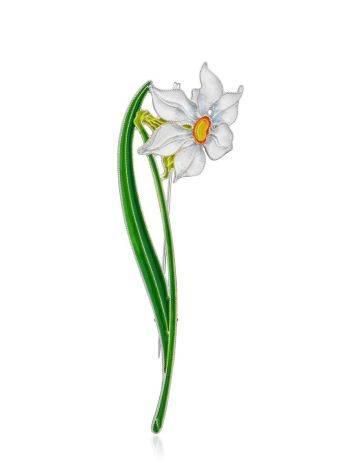 Amazing Daffodil Flower Enamel Brooch, image