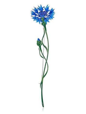 Wonderful Cornflower Enamel Brooch, image