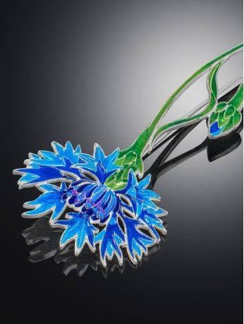 Wonderful Cornflower Enamel Brooch, image , picture 3