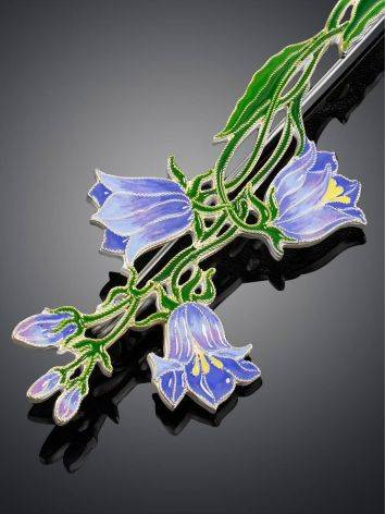 Exquisite Bluebell Flower Enamel Brooch, image , picture 3