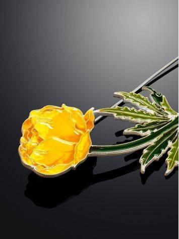 Bright Globe Flower Enamel Brooch, image , picture 3