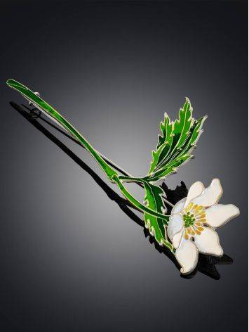 White Anemone Flower Enamel Brooch, image , picture 2