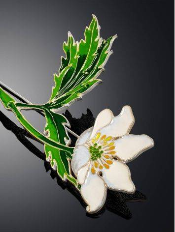 White Anemone Flower Enamel Brooch, image , picture 3