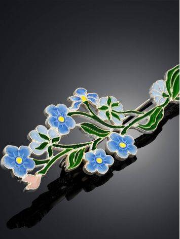 Cute Forget-Me-Not Flower Enamel Brooch, image , picture 3