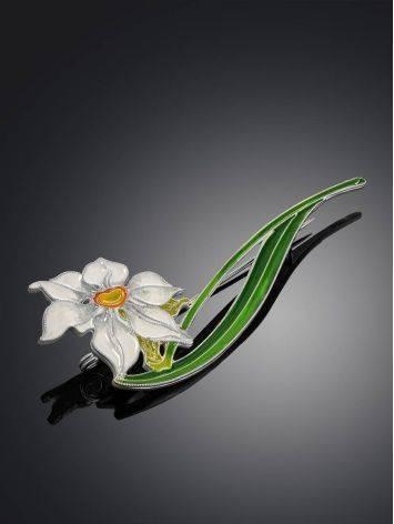 Amazing Daffodil Flower Enamel Brooch, image , picture 2