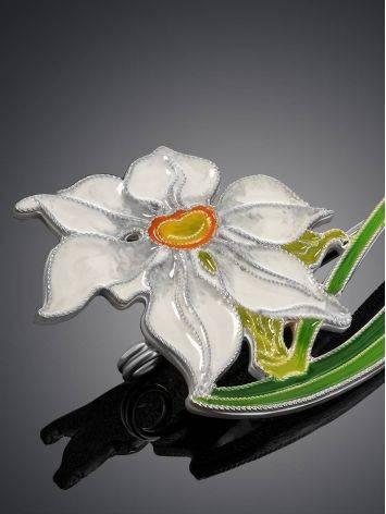 Amazing Daffodil Flower Enamel Brooch, image , picture 3