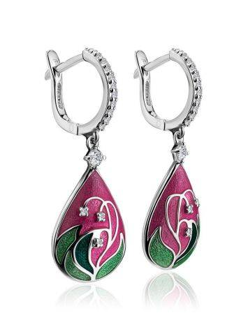 Pink Enamel Drop Earrings With Crystals The Romanov, image , picture 3
