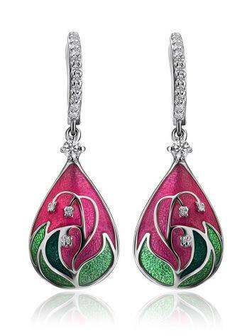 Pink Enamel Drop Earrings With Crystals The Romanov, image