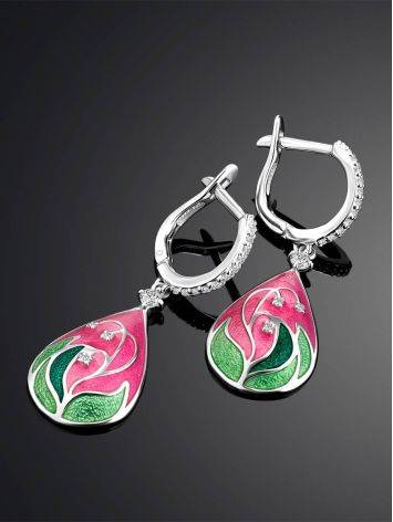 Pink Enamel Drop Earrings With Crystals The Romanov, image , picture 2
