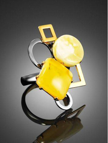 Adjustable Cocktail Ring With Bold Amber Stones The Picasso, Ring Size: Adjustable, image , picture 2