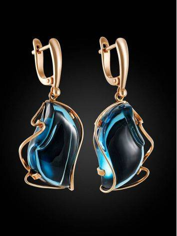 Amazing Golden Dangles With Blue Topaz The Serenade, image , picture 3