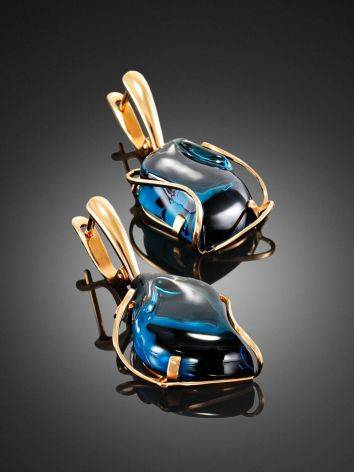 Amazing Golden Dangles With Blue Topaz The Serenade, image , picture 2