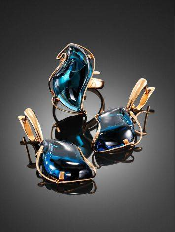 Amazing Golden Dangles With Blue Topaz The Serenade, image , picture 4