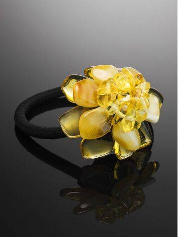 Amber Flower Hair Tie, image , picture 2