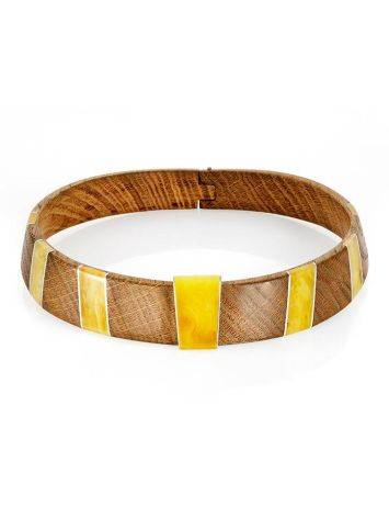 Wooden Choker With Honey Amber And Silver The Indonesia, image , picture 6