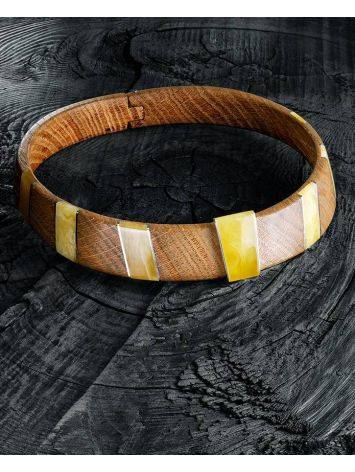 Wooden Choker With Honey Amber And Silver The Indonesia, image , picture 2