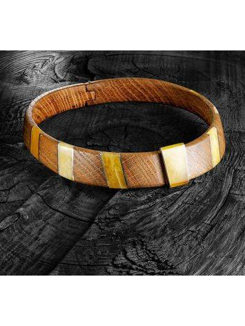 Wooden Choker With Honey Amber And Silver The Indonesia, image , picture 10