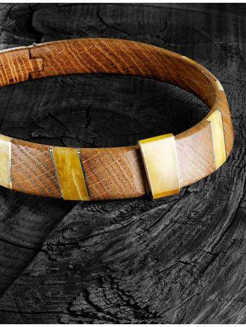 Wooden Choker With Honey Amber And Silver The Indonesia, image , picture 4
