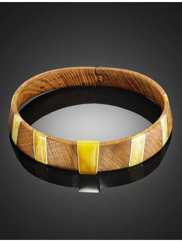 Wooden Choker With Honey Amber And Silver The Indonesia, image , picture 8