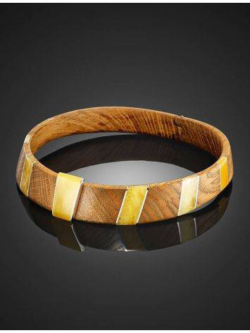 Wooden Choker With Honey Amber And Silver The Indonesia, image , picture 7