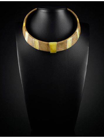 Wooden Choker With Honey Amber And Silver The Indonesia, image , picture 5