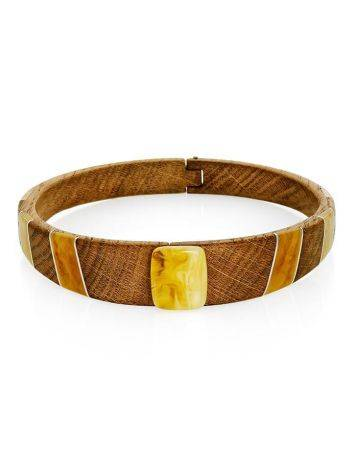 Wooden Choker Necklace With Honey Amber And Silver The Indonesia, image , picture 3
