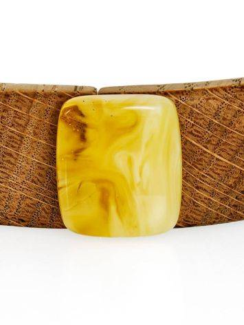 Wooden Choker Necklace With Honey Amber And Silver The Indonesia, image , picture 4
