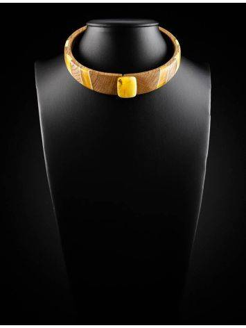 Wooden Choker Necklace With Honey Amber And Silver The Indonesia, image , picture 5