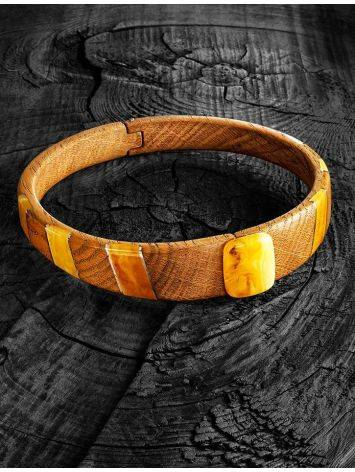 Wooden Choker Necklace With Honey Amber And Silver The Indonesia, image , picture 6