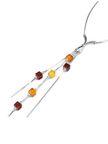 Silver Necklace With Multicolor Amber Dangles The Sugar, image , picture 4