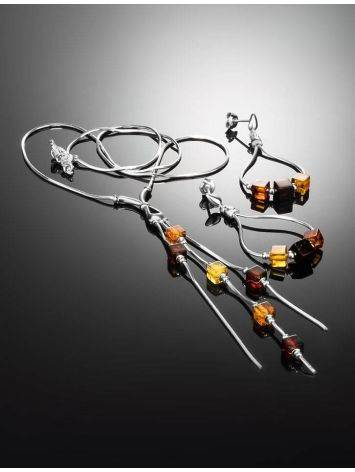 Silver Necklace With Multicolor Amber Dangles The Sugar, image , picture 2