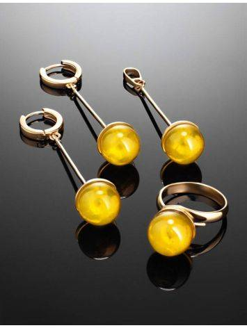 Gold-Plated Dangle Earrings With Lemon Amber The Paris, image , picture 5