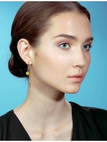 Amber Threader Earrings In Gold-Plated Silver The Jupiter, image , picture 5