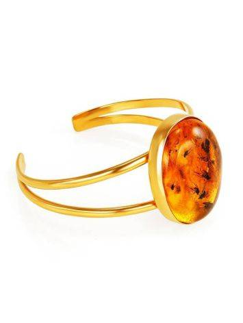 Cuff Amber Bracelet In Gold Plated Silver The Clio, image , picture 6