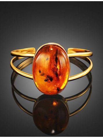 Cuff Amber Bracelet In Gold Plated Silver The Clio, image , picture 2
