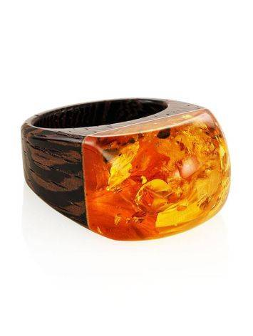 Cognac Amber Wooden Ring The Indonesia, Ring Size: 9.5 / 19.5, image , picture 3
