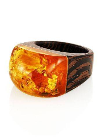 Cognac Amber Wooden Ring The Indonesia, Ring Size: 9.5 / 19.5, image , picture 4