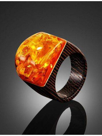 Cognac Amber Wooden Ring The Indonesia, Ring Size: 9.5 / 19.5, image , picture 2