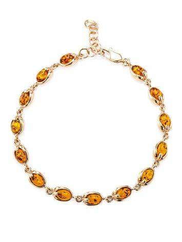 Link Gold Plated Bracelet With Cognac Amber The Astrid, image , picture 3