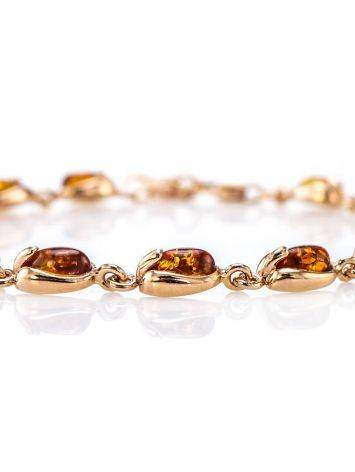Link Gold Plated Bracelet With Cognac Amber The Astrid, image , picture 4