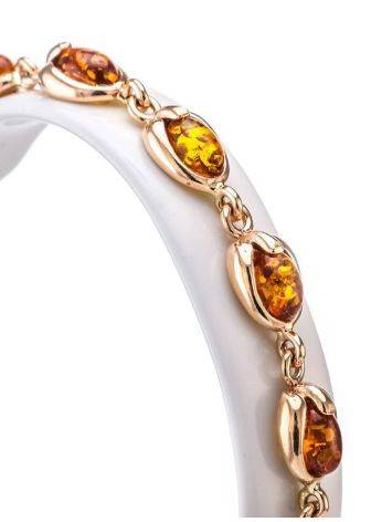 Link Gold Plated Bracelet With Cognac Amber The Astrid, image , picture 2