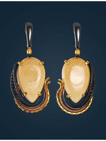 Drop Mammoth Tusk Earrings In Gold-Plated Silver The Era, image , picture 3